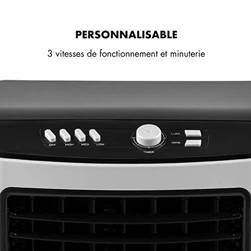 OneConcept MCH-2 V2 - Rafraîchisseur d'air, Humidificateur, Ventilateur, Refroidisseur, 65W, 360m³/h, 3 Vitesses, 4 Roulettes, Minuterie jusqu'à 2h, Filtre poussière, Réservoir 7L - Blanc