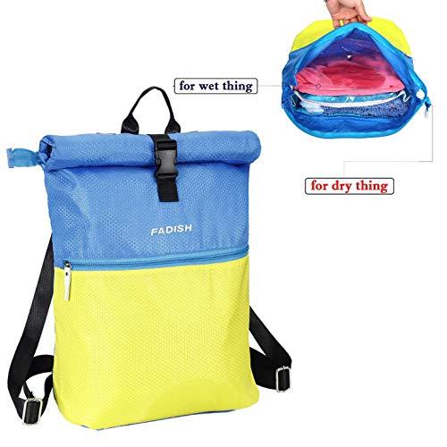 CAESER ARCHY Schwimmtasche,Nylon Material Tasche,Trockene und nasse Kleider Separatoren Tasche,Sporttasche,wasserdichte Tasche, Strandtasche -Blau und Gelb.