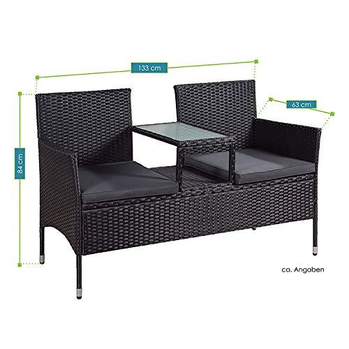 ArtLife Polyrattan Gartenbank Monaco schwarz – 2-Sitzer Bank mit integriertem Tisch & Kissen in Grau – 133 × 63 × 84 cm – Sitzbank wetterfest - 6