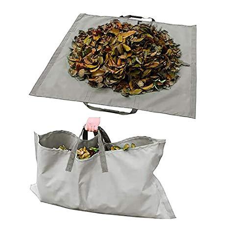 LJWLZFVT Gartenabfallsack Laubsack schwerlast Gartensack zusammenfaltbar Zwei in einem Gartenblattmatte  vielseitig einsetzbar   Gartentasche Rasensack (144X144cm)-Grau 144x144cm