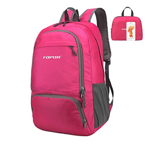 Lightweight Foldable Hiking Daypack Backpack - 30L Water Resistant Knapsack with Pouch for Women&Men - Waterproof Folding Rucksack for Outdoor Travel Camping Trekking Mountain (Foldable Rose Red A)