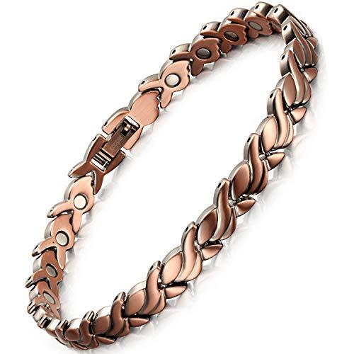 Rainso Pulsera para mujer, pulsera magnética de cobre puro, pulsera magnética elegante para mujer,...