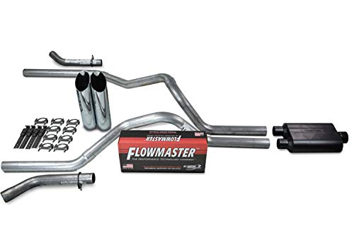 """Truck Exhaust Kits - Shop Line dual exhaust system 2.5"""" Aluminized pipe Flowmaster Super 44 Muffler 2.5"""" With Slash Cut Chrome Tips and Corner Exit for Silverado, Sierra, F-Series,& Ram"""
