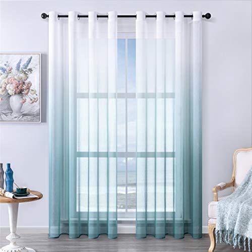 MRTREES Voile Gardinen Farbverlauf Leinenoptik Transparent Vorhang Kurz Tüllvorhang mit Ösen Blau 225×140cm (H×B) Modern für Dekoration Kinderzimmer Wohnzimmer Schlafzimmer 2er-Set