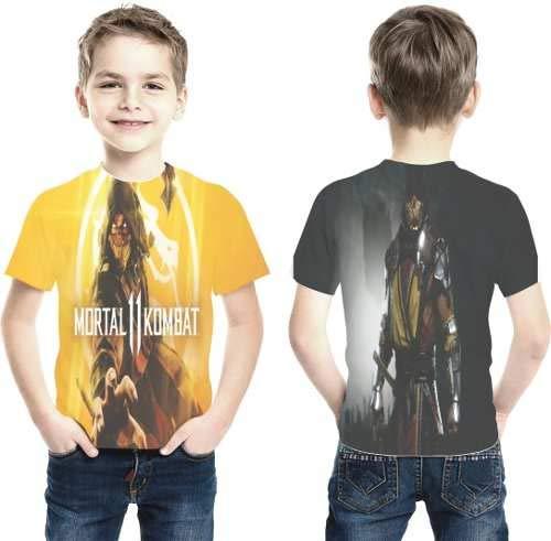 Camiseta Mortal Kombat 11 Estampa Total Infantil