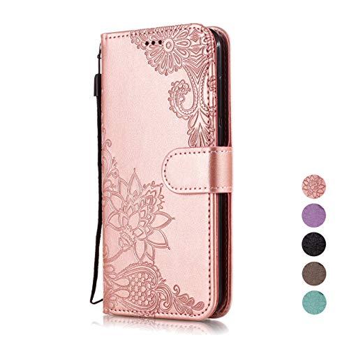 E-Panda Huawei P20 Lite skal plånbok kreativ personlig design PU-läder folio flip skyddande fodral fodral spets roséguld blomma med korthållare stöd funktion