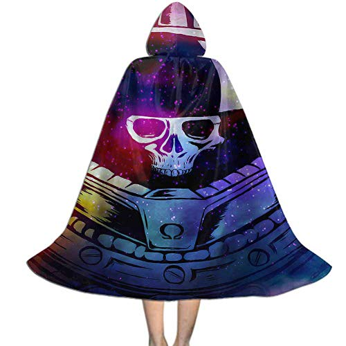 MakeHappy Kids Hooded Cloak Cape for Halloween Cosplay Costumes,Space Marine Skull Design
