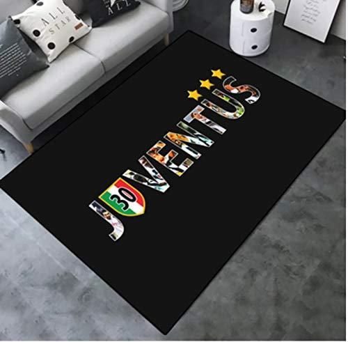 zzqiao Tappeto Rettangolare Antiscivolo Calcio Juventus Soggiorno Divano Tavolino Camera da Letto Comodino Semplice Area Creativa Tappetino 120 * 160 Cm