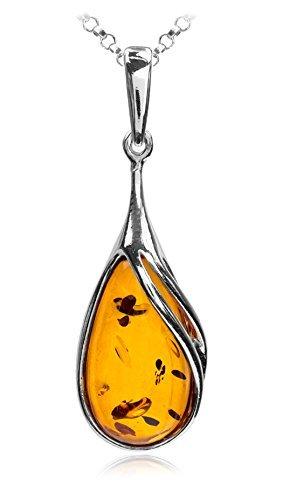 Noda - Collana in ambra baltica color miele e argento sterling, 46 cm, stile classico