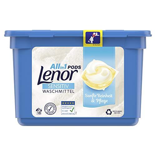 Lenor Waschmittel Pods All-in-1, Sensitiv für sensible Haut und Babyhaut, 18 Waschladungen