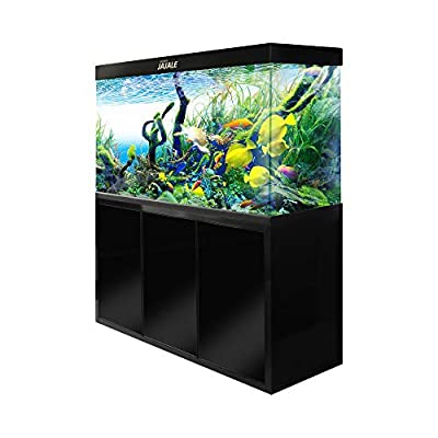 JAJALE 175 Gallon Aquarium Fish Tank LED Light Pump Freshwater Filter Upright Fishtank Stand Bundle Straight Corners Clear Glass (All Black)