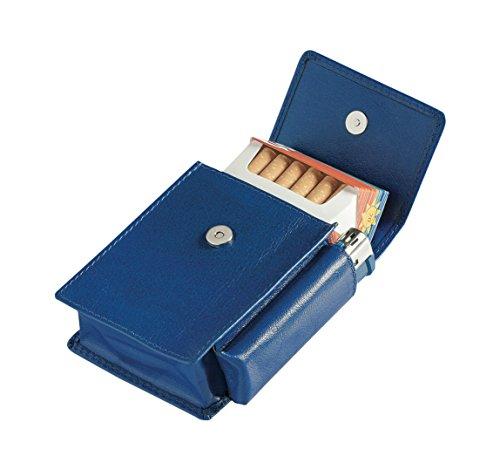Egoist Premium - Zigarettenetui aus hochwertigem Leder I Zigaretten HülleI Box I Schachtel I Inklusive Feuerzeug Fach I Passend für Zigarettenschachtel in Standardgröße - Blau