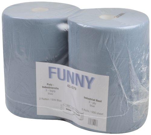 Funny AG-079 Putzpapierrollen, 3 lagig, Recycling Blau, Circa 36 cm, 500 Blatt, 2 Stück