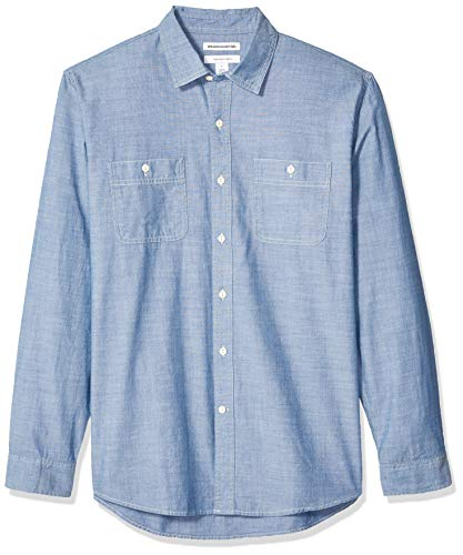 Amazon Essentials - Camisa de cambray con manga larga y corte recto para hombre, Azul medio, US M (EU M)