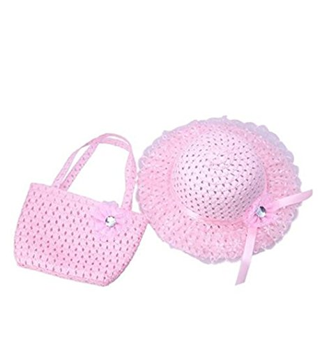 Jiuhexu Kids Straw Sun Hat Handbag Sets Children Beach Caps Prop Outfit 9Colors (Pink)