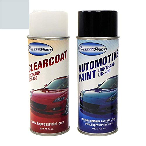 ExpressPaint Aerosol - Automotive Touch-up Paint for Ford Police - Light Ice Blue Pearl Metallic Clearcoat LS/M7054 - Color + Clearcoat Package
