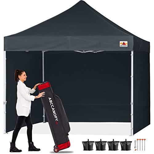 ABCCANOPY tienda de campaña instantánea comercial con toldo de 8 pies x 8 pies, con 4 paredes laterales extraíbles y bolsa de rodillo, incluye 4 bolsas de arena
