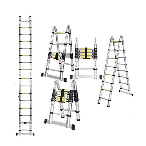 5m Teleskopleiter Klappleiter Ausziehbare Leiter Mehrzweckleiter Alu Leiter Teleskop Design Ausziehbare Stufen 150 kg/ 330 Pfund Belastbarkeit (2,5m+2,5m)