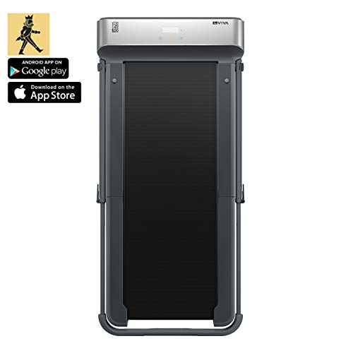 AsVIVA Laufband T24 Bluetooth Compact Runner, Touchscreen Computer & Fernbedienung, 2,0PS energieeffizienter Motor bis zu 10km/h, leise im Betrieb, sehr flach 15cm hoch, kompakt klappbar