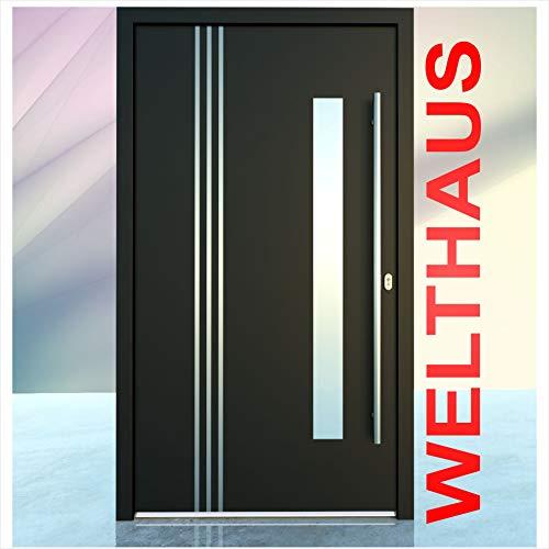 Haustür Welthaus WH75 Standard Aluminium mit Kunststoff LA122 Bremen Tür 1000x2000mm DIN Rechts Farbe aussen anthrazit Innen weiß außengriff BGR1400 innendrucker M45 Zylinder 5 Schlüßel