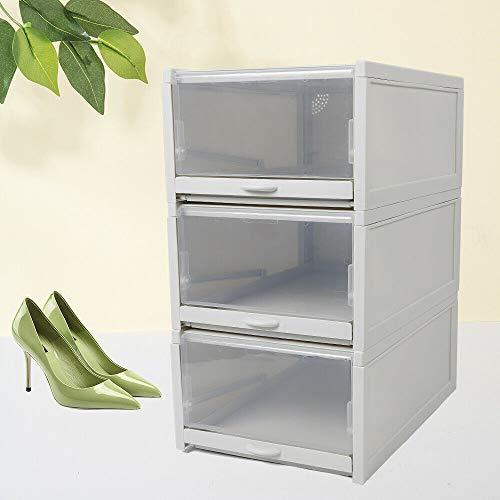 3 cajas de almacenamiento para zapatos, caja de almacenamiento transparente con cajón...