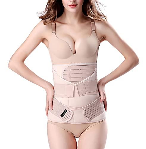 3 in 1 Postpartum Support Recovery Belly Wrap Waist/Pelvis Belt Body Shaper Postnatal Shapewear,Plus Size Beige