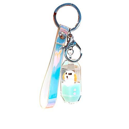 LZHLMCL Tasche Schlüsselanhänger Cartoon Welpen Treibende Flasche Auto Schlüsselanhänger Flüssigkeit In Öl Treibsand Anhänger Schultasche Anhänger Metall Schlüsselbund
