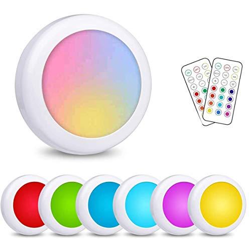 Illuminazione sotto l'armadio, 6 pezzi di luce notturna ambientale LED Puck che cambia colore senza fili con telecomando, luci del rubinetto della batteria AA, illuminazione spot colorata RGB