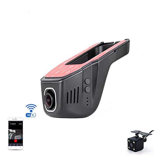 Dash Cam WiFi Auto DVR HD 1080P, Notfallaufnahme, APP Control Dashboard,170 ° Weitwinkel-Autokamera mit Nachtsicht, G-Sensor, Auto-DVR,duallens