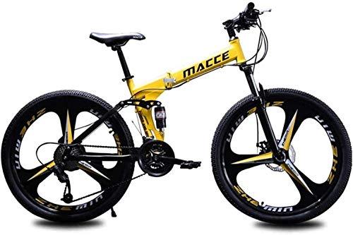 JYD Bike, Mountain Bike, Soft Tail Bike, Folding Bike, 24 inch 21/24/27 Speed  Bike, Adult Student Variable Speed Bike  6-11, Yellow, 27 Speed (Color : Gelb, Size : 27 Geschwindigkeit)