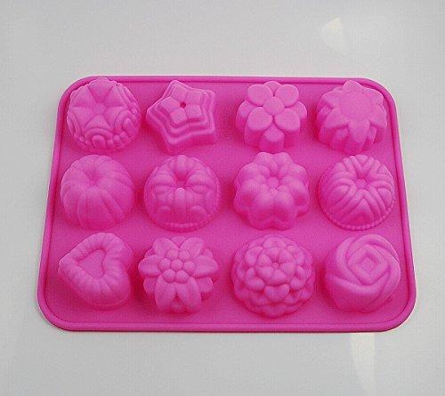 CHENGYIDA Lot de 3 moules de cuisson en silicone avec 12 cavités pour cupcakes, bonbons, thé, fondant, chocolat, gelée, brownie, mini muffins, cake pop, pudding, pâte à sucre en forme de cœur 3D, étoile