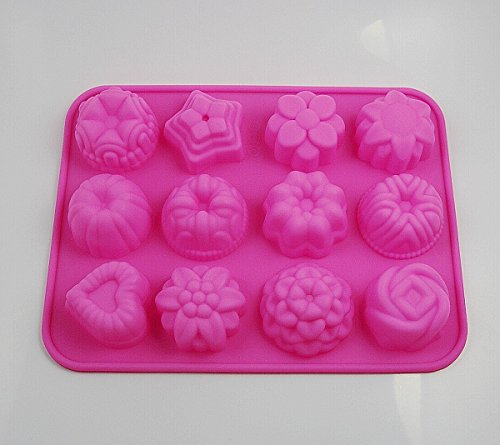 CHENGYIDA 3 STKS (12 Cavity Bakeware Molds) Siliconen Bakvormen voor Cupcakes, Snoep, Thee Cake, Fondant, Chocolade, Jello, Brownie, Mini Muffin Pan, Cake Pop, Pudding, Sugarcraft 3D Heart, Star