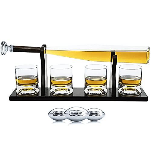 NZQLJT Decantador De Whisky, Decantador De Vasos De Whisky con 3 Piedras Enfriadoras Y 4 Vasos, Juegos De Vasos De Whisky con Tapón Hermético