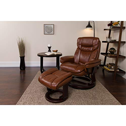 Flash Furniture Contemporary Multi-Position Recliner and Curved Ottoman with...
