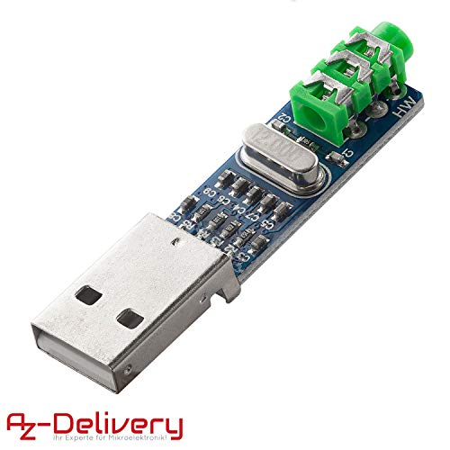 AZDelivery Mini PCM2704 USB Sound Karte DAC Decoder Board DV 5V für Raspberry Pi