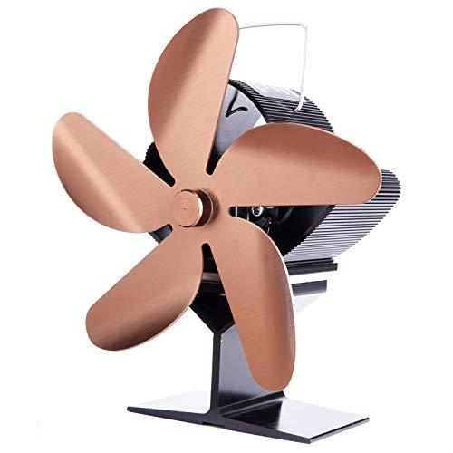 Wivarra SF101S Calentador de Chimenea de EnergíA TéRmica Color Bronce Cinco Cuchillas Ventilador de CalefaccióN para Chimenea Ventilador de Chimenea Seguro para el Hogar Calor Eficiente