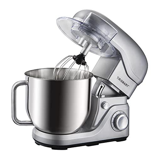 TiRiSMART Robot de cocina de 1800 W, de alto rendimiento, multifunción, con gancho para amasar, gancho para agitar, batidor, 8 litros, cuenco de acero inoxidable