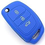 Finest-Folia - Funda de silicona para llave de coche con 3 botones, color azul