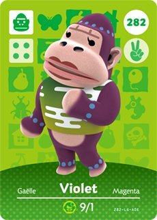 Violet - Nintendo Animal Crossing Happy Home Designer Amiibo Card - 282