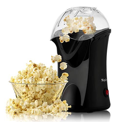 Macchina per popcorn professionale Meyky, 1200 W, per popcorn, olio non necessario, design con calibro, misurino e coperchio rimovibile. Nero