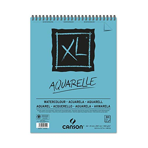 Álbum Espiral Microperforado, A4, 30 Hojas, Canson XL Aquarelle, Grano Fino 300g, Azul, 21 x 29.7 cm