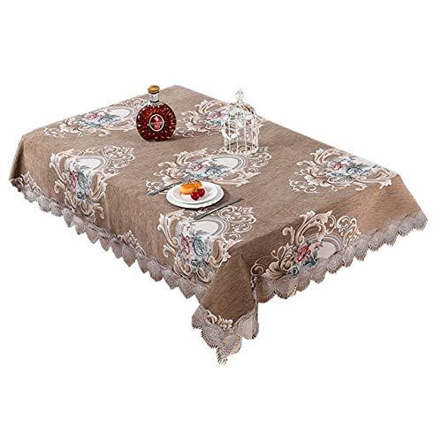Funda para silla de comedor, diseño chino europeo, para decoración de sala de estar, mesa de café, mantel redondo cuadrado (color: verde militar, especificación: 145 x 195 cm)