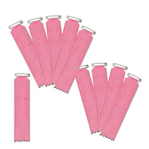 盾型 ピンク色 10枚入(一枚ビラ)【リボン徽章・胸章】 安全ピン仕様