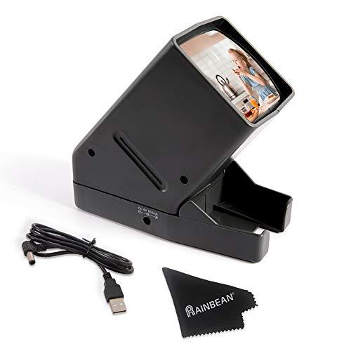 USB Powered 35mm Negative Slide Film Viewer, Old Slides Scanner Portable LED Lighted Negative Viewing – 3X Magnification, Handheld Projector Suit for 2 × 2 Slides