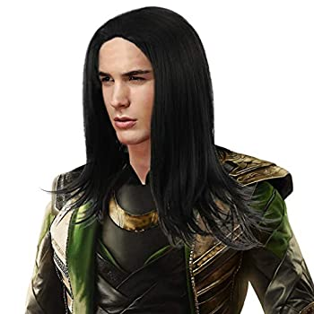 Long Black Cosplay Wig for Men-Synthetic Full Head Straight Anime Role Play Hair Wigs for Party Costume Halloween