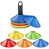 Leezo Set de 10 piezas de conos deportivos multideporte entrenamiento de seguridad de disco conos para fútbol baloncesto y cualquier juego de pelota para marcar, naranja