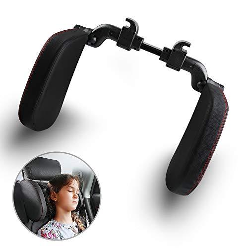 Migimi Auto Kopfstütze Nackenstütze, Höheneinstellbar Kopfstützkissen mit Teleskopstange für Autositz Unterstützung auf Beiden Seiten, Auto Kopfstütze Nackenkissen für Kinder und Erwachsene