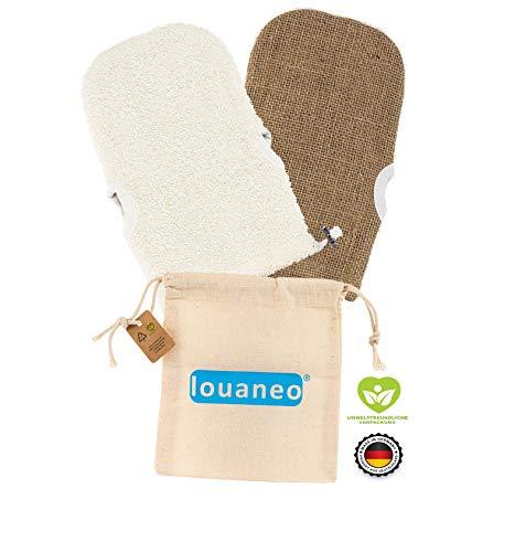 louaneo® Waschlappen, Body-Scrub Peeling, Hamam Handschuh mit 2 Seiten Gesichtspeeling. Gegen Pickel und eingewachsene Haare. 100% Natur. Bio Baumwolle + unbehandelte Jute. Made in Germany