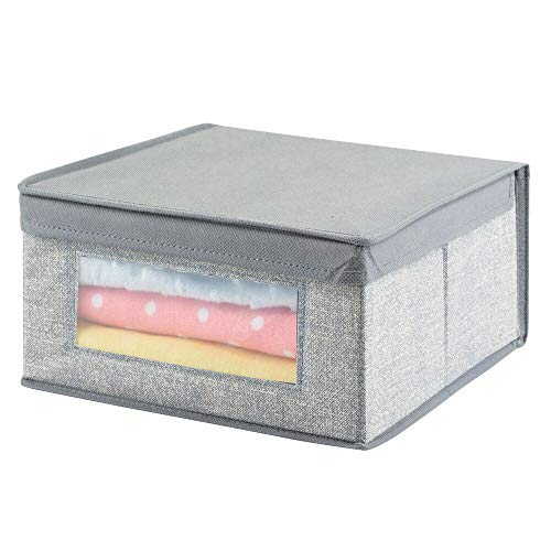 mDesign – Caja de almacenaje (Mediana) – Organizador para bebés de Color Gris – Organizador para armarios