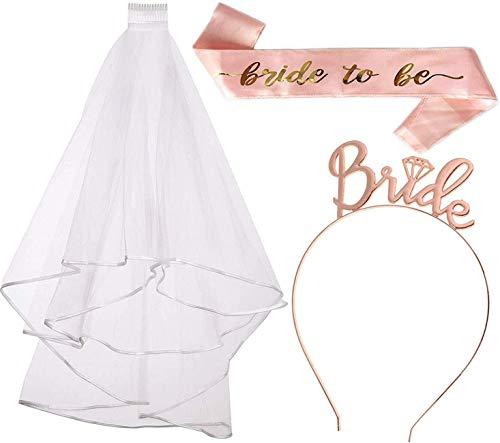 Nuziale Kit Addio al Nubilato,3 Pack Decorazione Sposa di Fascia, Sposa Veil, La Fascia di Diadema